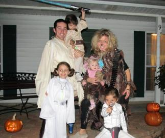 Qui Gon Gin (Daddy), Chewbakka (Mommy), Princess Leia (Sidekick), Padme (Sunshine), Obi Wan (The Dude), Ewok (Firecracker)