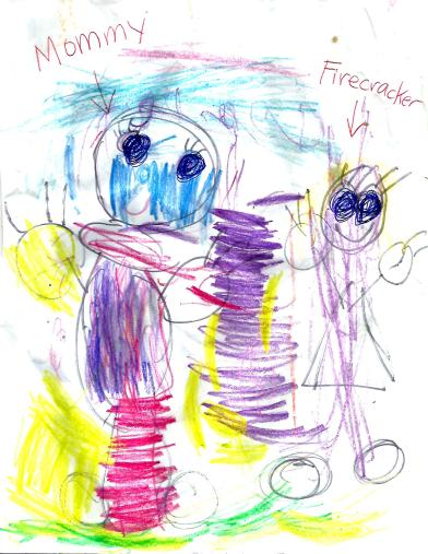FIRECRACKERS DRAWING (BALD MOMMY)